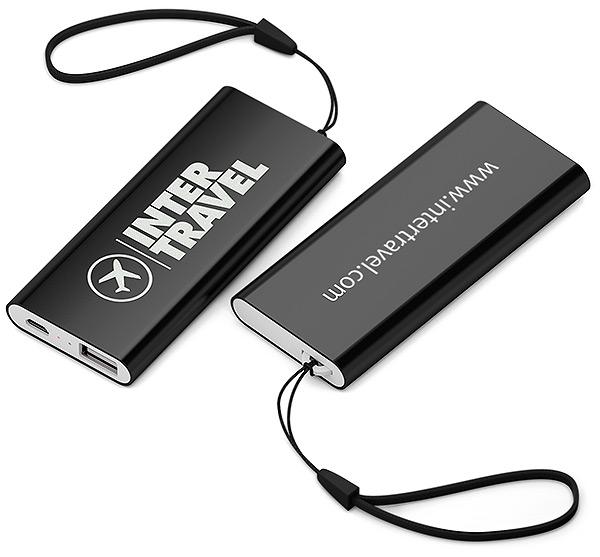 USB Ladegerät mit Firmenlogo Deluxe Slim 2500