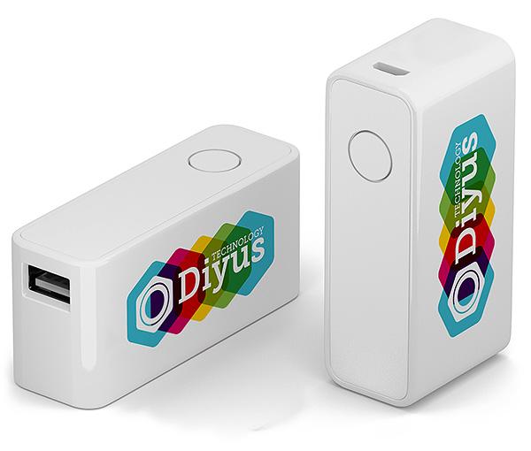 Powerbank mit USB Stick, bedruckt, Logo, Firmenlogo, Kombination USB Stick Zusatzakku, individuell bedruckt