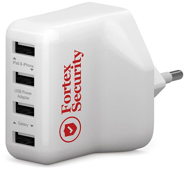 USB Ladegerät vierfach, USB Lafegerät bedruckt, Ladegerät Apple Logo, USB Werbemittel, USB Druck, Powerbank Druck