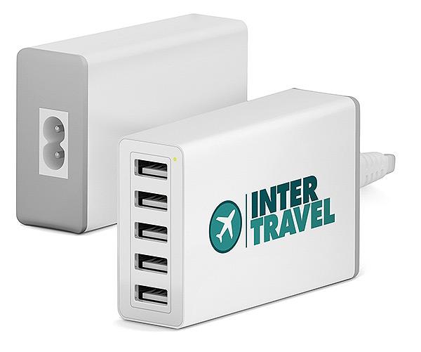 USB Ladestation vierfach, USB Ladestation bedruckt, Ladegerät Apple Logo, USB Werbemittel, USB Druck, Powerbank Druck